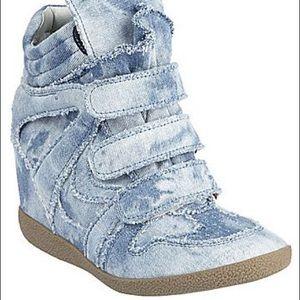 Steve Madden Velcro Wedge Sneaker Denim